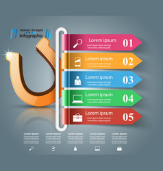 horseshoe 3d icon - business infographic vector image