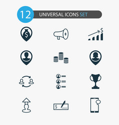 hr icons set with location partnership coins and vector image