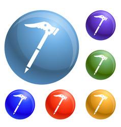 Ice axe icons set vector
