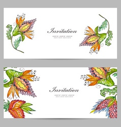 invitation cards with exotic abstract flowers for vector image