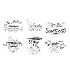 invitation for event save date monochrome vector image