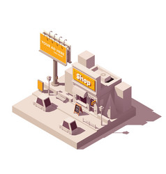 isometric billboard and shop vector image