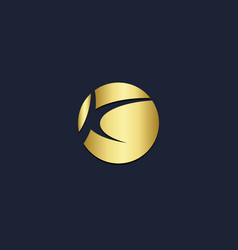 k initial round abstract gold logo vector image