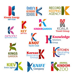 Letter k corporate identity business icons vector