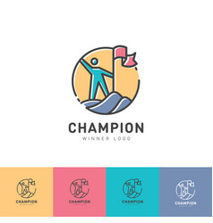 Logo champion winner man flag mountain vector