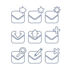 Mail icon set linear icons vector