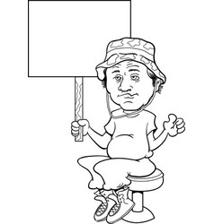 Man sitting on a bar stool and holding a sign vector