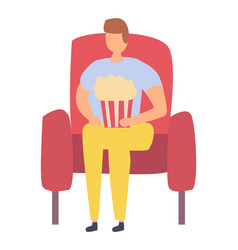man sitting on red armchair with popcorn isolated vector image