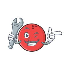 mechanic bowling ball character cartoon vector image