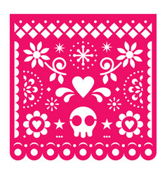 Mexican papel picado design pink retro vector