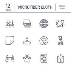 Microfiber cloth properties flat line icons vector