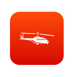 Military helicopter icon digital red vector