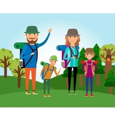 Nature tourism Family at the forest vector image