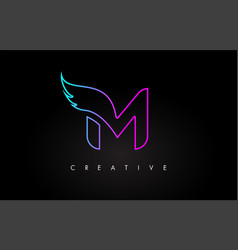neon m letter logo icon design with creative wing vector image