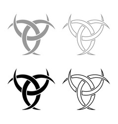 Odin horn paganism symbol icon set grey black vector