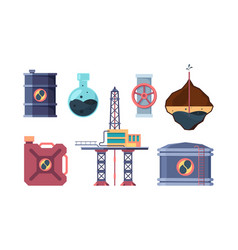 oil industry set drilling well opening valve on vector image