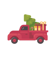old red truck with christmas tree and presents vector image
