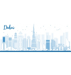 Outline Dubai City skyline vector image