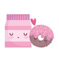 Package donut love menu character cartoon food vector