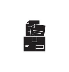paper work box black concept icon paper vector image