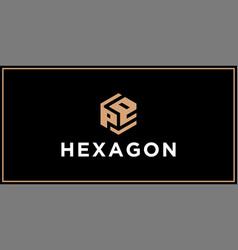 Pe hexagon logo design inspiration vector