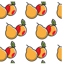 Pear and peach fruits seamless pattern harvest and vector