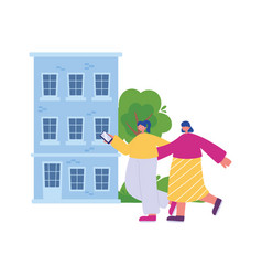 people activities woman and girl with smartphone vector image