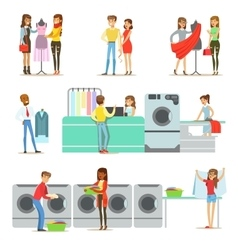 People At The Laundry Dry Cleaning And Tailoring vector