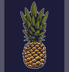 Pineapple big tasty summer tropical fruit vector