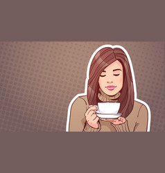 Portrait of beautiful woman holding cup with hot vector