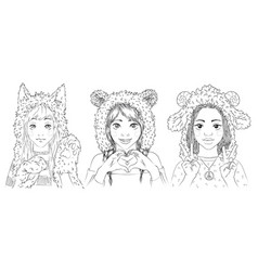 Portraits of cute young girls in animal hats vector