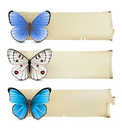 retro butterfly banners3 vector image