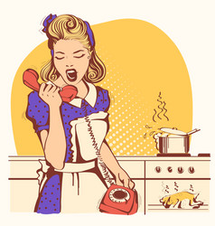 retro housewife talking and shouting on the phone vector image