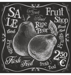 ripe pear logo design template fresh fruit vector image