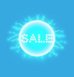 sale glowing neon sign on the blue background vector image