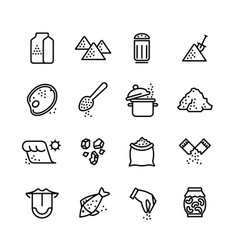 Salt line icons set vector