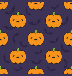 Seamless halloween pattern with scared kawaii vector