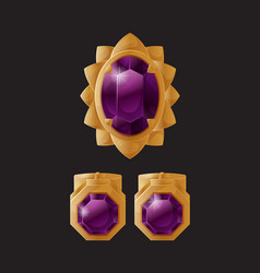 set jewelry items gold earrings clips purple stone vector image