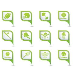Set of 12 sport on GREEN pointer vector image