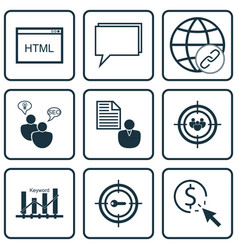 set of 9 marketing icons includes report keyword vector image