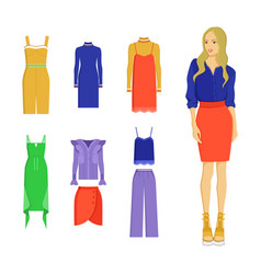 set of various summer clothes colorful banner vector image