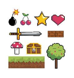 Set pixelated videogame graphic scene vector