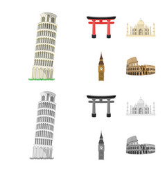 sights of different countries cartoonmonochrome vector image