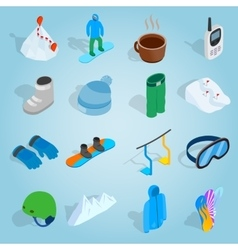 Snowboard set icons isometric 3d style vector image