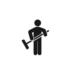 sweeping person icon isolated on white background vector image