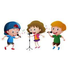 Three kids singing on microphone vector