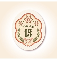 vintage wedding badge table number vector image