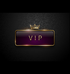 Vip royal purple label with golden frame and crown vector