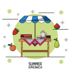 White background starry poster of summer picnic of vector