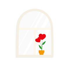 window and flower in pot vector image